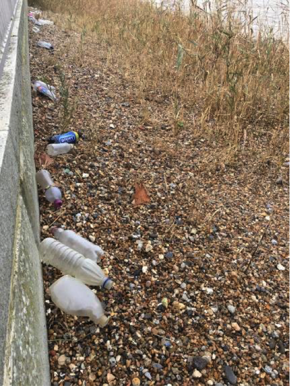 Litter to rear of downstream end of terrace on top of washed out fill, Autumn 2017.