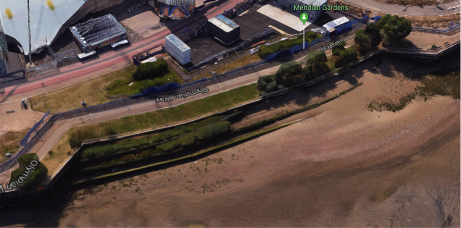 Aerial view of site (Google 3D image from 2018)