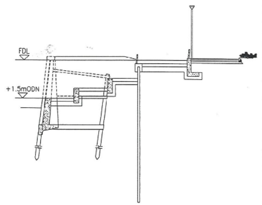 Section view from as built drawings