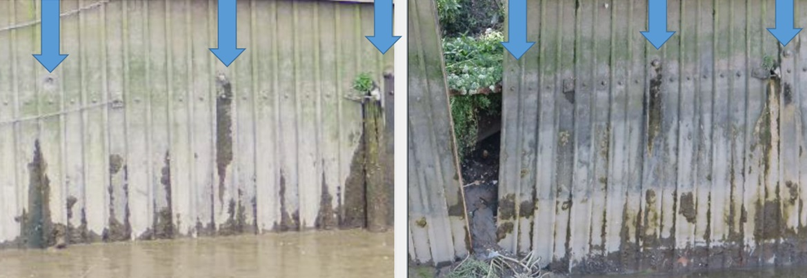 Wandsworth Riverside Quarter where loss of an impounded water level resulted in the failure of a missing tie bolt in the sheet steel pile wall.