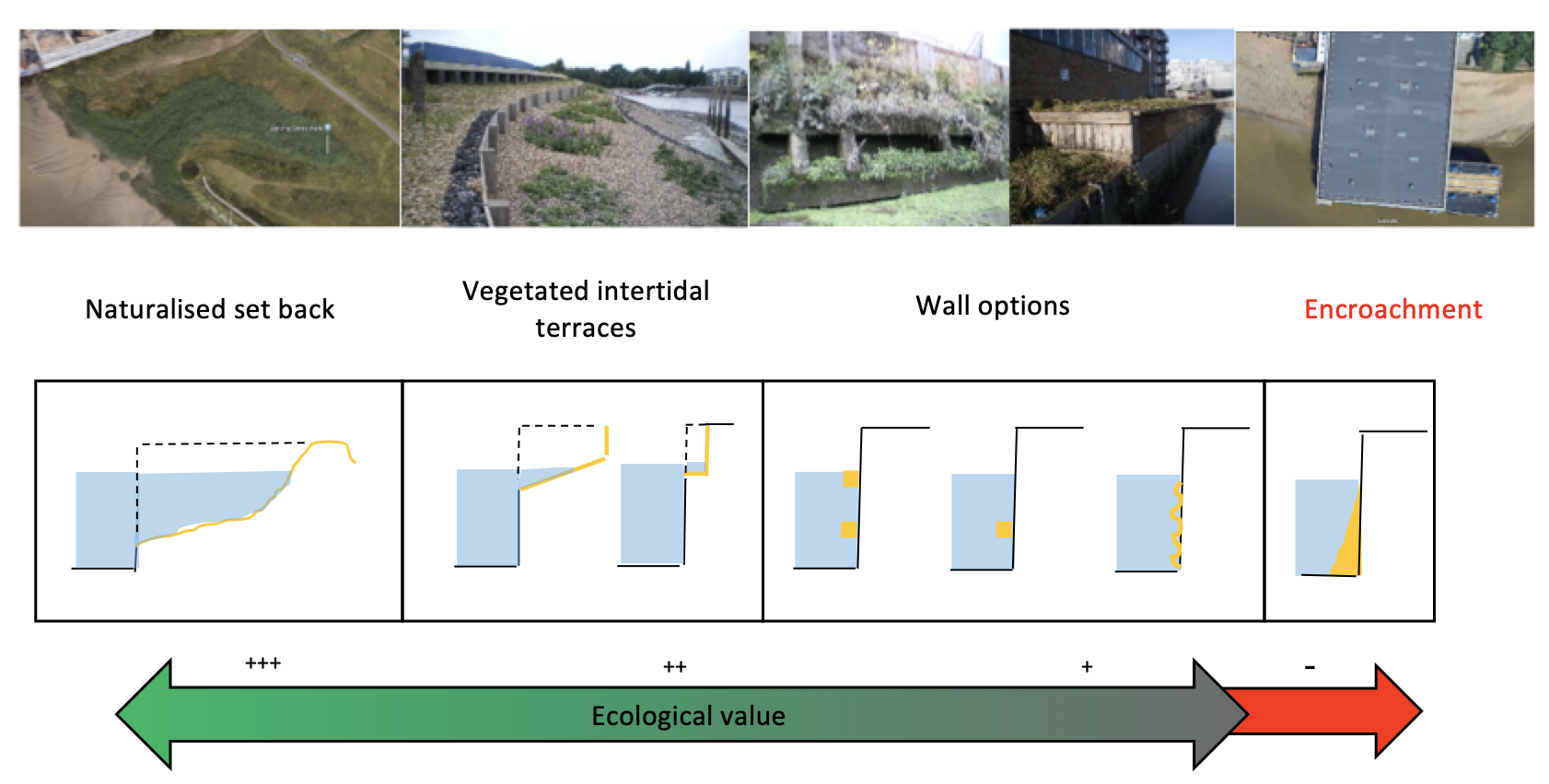 Figure 1: Showing cross sections of typical designs (with photographic examples) in order of ecological value.